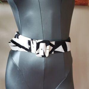 Hy-Tee Vintage retro black white thick belt